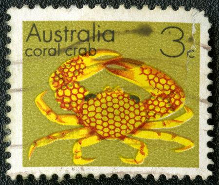 AUSTRALIA - CIRCA 1973: A stamp printed in Australia shows coral crab, series, circa 1973