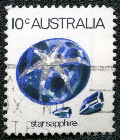 AUSTRALIA - CIRCA 1973: A stamp printed in Australia shows star sapphire, series, circa 1973 Editorial