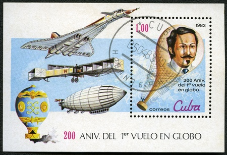 devoted: CUBA - CIRCA 1983: A post stamp printed in Cuba devoted Bicentenary of the 1st Manned Balloon Flight, series, circa 1983