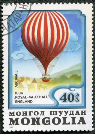 MONGOLIA - CIRCA 1982: A stamp printed in Mongolia shows air-balloon