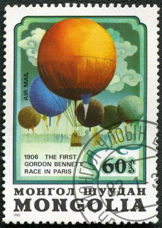 bennett: MONGOLIA - CIRCA 1982: A stamp printed in Mongolia shows balloon The First Gordon Bennett Race in Paris 1906, series, circa 1982