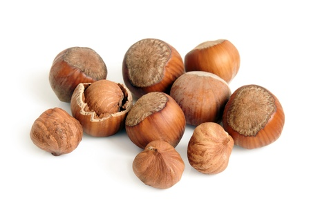Hazelnuts on a white background photo