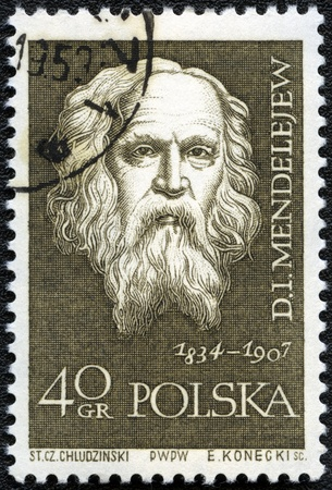 mendeleev: POLAND - CIRCA 1959: A stamp printed in Poland shows Dmitri Mendeleev (1834-1907), series, circa 1959