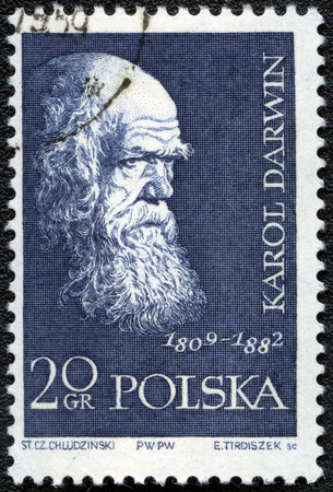 darwin: POLAND - CIRCA 1959: A stamp printed in Poland shows Charles Darwin (1809-1882), series, circa 1959