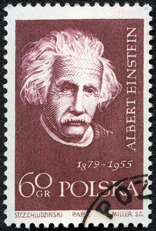 mathematician: POLAND - CIRCA 1959: A stamp printed in Poland shows Albert Einstein (1879-1955), series, circa 1959