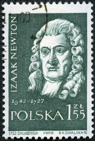 postal card: POLAND - CIRCA 1959: A stamp printed in Poland shows Isaac Newton (1642-1727), series, circa 1959 Editorial
