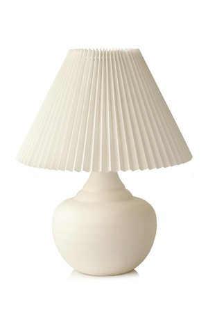 lampshade: White table lamp on a white background Stock Photo
