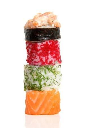 Sushi rolls on a white background