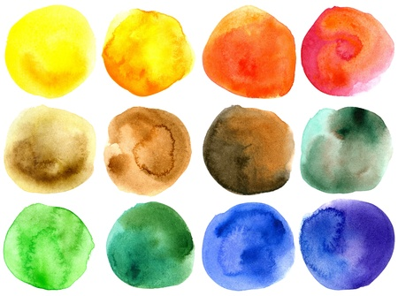 watercolor blue: Set of abstract hand drawn watercolor circles