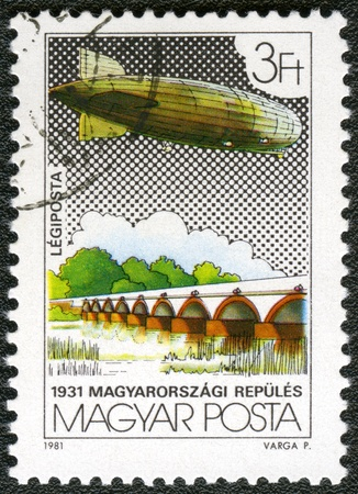 HUNGARY - CIRCA 1981: A stamp printed by Hungary, shows Graf Zeppelin Flights, circa 1981  photo