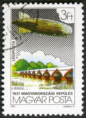 graf: HUNGARY - CIRCA 1981: A stamp printed by Hungary, shows Graf Zeppelin Flights, circa 1981
