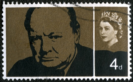 elizabeth: UNITED KINGDOM - CIRCA 1965: A stamp printed in UK, shows Sir Winston Spencer Churchill (1874-1965), statesman and WWII leader, circa 1965 Editorial