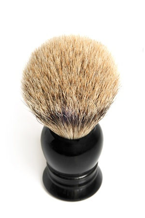 male grooming: Shaving brush on a white background Stock Photo