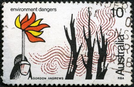 AUSTRALIA - CIRCA 1975: A stamp printed in Australia shows Environmental Dangers, series, circa 1975 photo