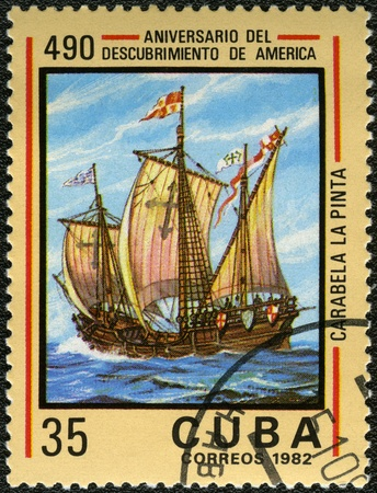 pinta: CUBA - CIRCA 1982: A stamp printed in Cuba shows carvel Pinta, devoted Discovery of America, 490th anniversary, series, circa 1982 Stock Photo