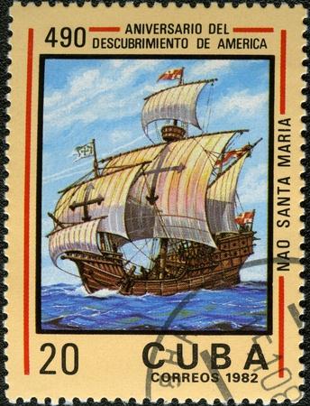 CUBA - CIRCA 1982: A stamp printed in Cuba shows ship Santa Maria, devoted Discovery of America, 490th anniversary, series, circa 1982 photo