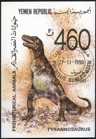 YEMEN REPUBLIC - CIRCA 1990: A stamp printed in Yemen shows Tyrannosaurus, Prehistoric Animals, series, circa 1990 Stock Photo - 12184230