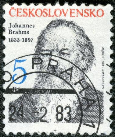 CZECHOSLOVAKIA - CIRCA 1983: A stamp printed in Czechoslovakia shows Johannes Brahms (1833-1897), composer, circa 1983