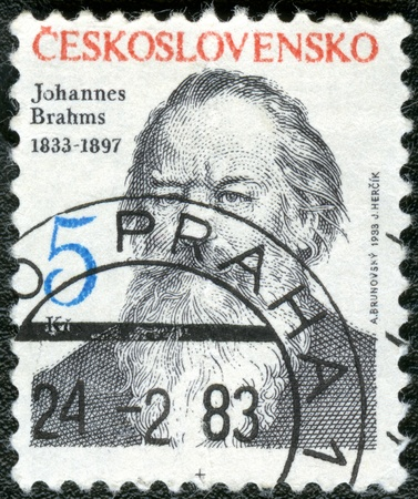 czechoslovakia: CZECHOSLOVAKIA - CIRCA 1983: A stamp printed in Czechoslovakia shows Johannes Brahms (1833-1897), composer, circa 1983