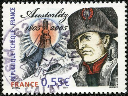 napoleon: FRANCE - CIRCA 2005: A stamp printed in France shows Napoleon Bonaparte, devoted Battle of Austerlitz, bicentenary (1805-2005), circa 2005 Editorial