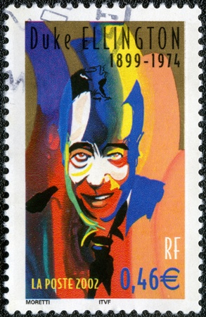 duke: FRANCE - CIRCA 2002: A stamp printed in France shows Duke Ellington (1899-1974), Jazz Musician, series, circa 2002 Editorial