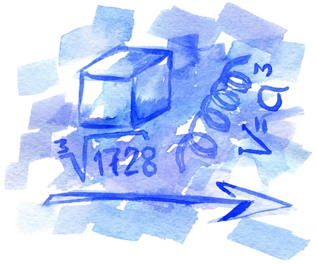 calculus: Abstract hand drawn watercolor background with mathematical symbols, for backgrounds or textures