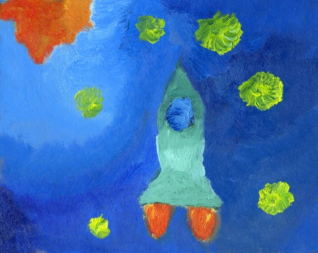 Kids oil painting of space rocket and stars, a horizontal picture  photo