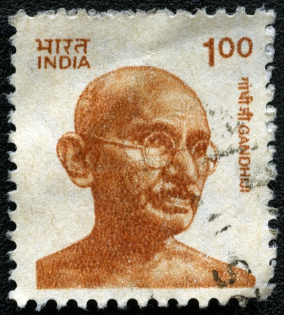 nonviolent: INDIA - CIRCA 1991: A stamp printed in India, shows portrait of Mohandas Karamchand Gandhi, series, circa 1991