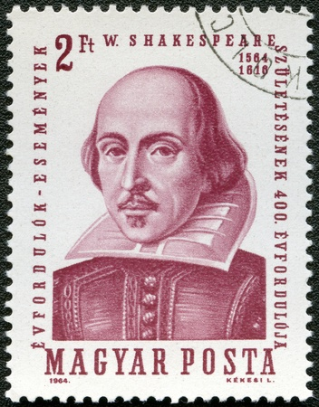 william shakespeare: HUNGARY - CIRCA 1964: A stamp printed in Hungary shows image of William Shakespeare (1564-1616), the playwright, circa 1964