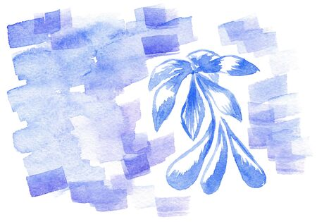 Abstract hand drawn watercolor background with flower, for backgrounds or textures photo