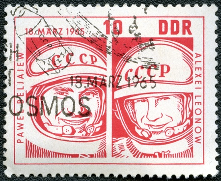 lt: GERMANY - CIRCA 1965  A stamp printed by Germany shows Col  Pavel Belyayev and Lt  Col  Alexei Leonov, Space flight of Voskhod 2, circa 1965 Editorial