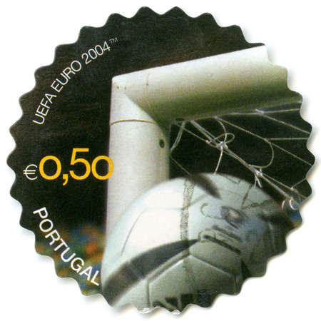 goal post: PORTUGAL - CIRCA 2004  A stamp printed by Portugal, devoted the Official UEFA Euro 2004 Match Ball, shows soccer ball, corner of goal, circa 2004