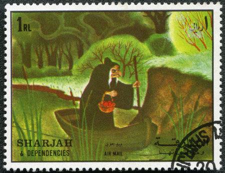 sharjah: SHARJAH & DEPENDENCIES - CIRCA 1972: A stamp printed by Sharjah & Dependencies devoted fifty years of Walt Disney cartoon characters, shows Wicked Queen