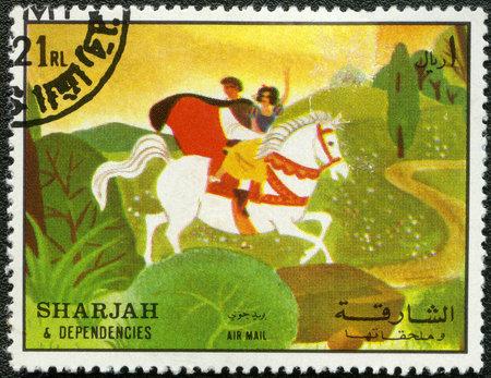 dependencies: SHARJAH & DEPENDENCIES - CIRCA 1972: A stamp printed by Sharjah & Dependencies devoted fifty years of Walt Disney cartoon characters, shows Snow White, series, circa 1972