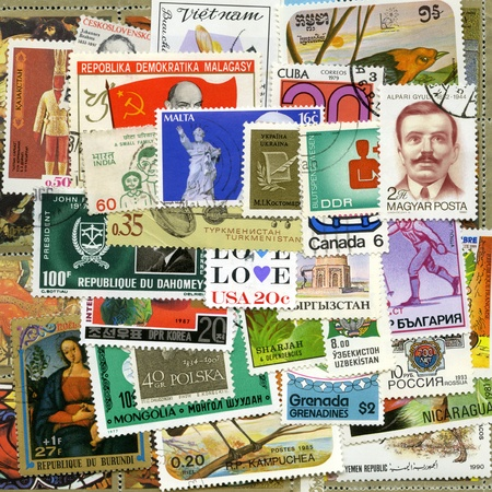 stamp collecting: Postage stamps of the different countries, for backgrounds or textures Editorial