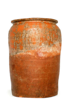 crock pot: Old crock on a white background