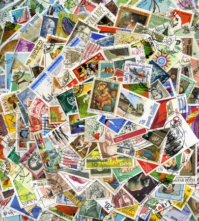 Postage stamps of the different countries, for backgrounds or textures Editorial