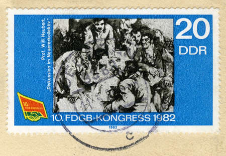 innovator: GERMANY - CIRCA 1982: A stamp printed in Germany devoted Free Federation of German Trade Unions, 10th congress, shows Discussion at the Innovator Collective, by Willi Neubert, circa 1982