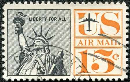 UNITED STATES OF AMERICA - CIRCA 1959: A stamp printed by USA shows Statue of Liberty, circa 1959 photo