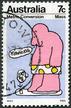 AUSTRALIA - CIRCA 1973: A stamp printed by Australia, shows caricature, Mass, series Metric Conversion, circa 1973 photo