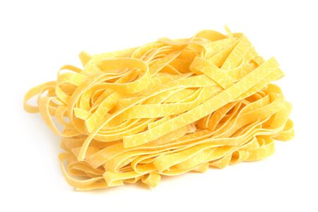 ribbon pasta: Egg noodles on a white background