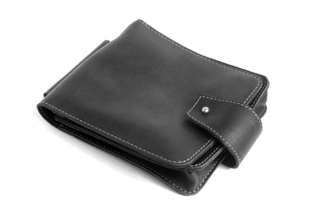 Black leather male bag on a white background photo