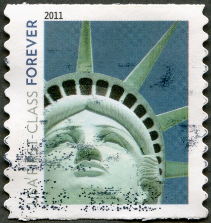 UNITED STATES OF AMERICA - CIRCA 2011: A stamp printed by USA shows Statue of Liberty, circa 2011 photo