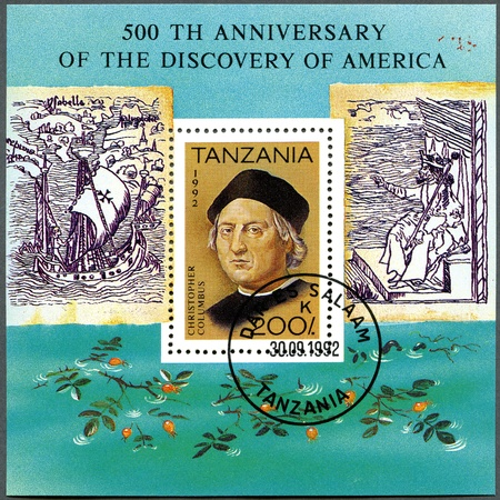 TANZANIA - CIRCA 1992: A stamp printed in Tanzania devoted to 500th anniversary of the discovery of America, shows Christopher Columbus, circa 1992