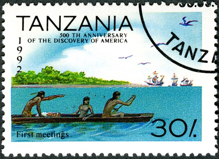 christopher columbus: TANZANIA - CIRCA 1992: A stamp printed in Tanzania devoted to 500th anniversary of the discovery of America, shows First meetings, circa 1992