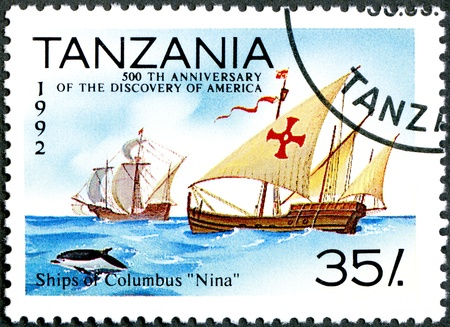"TANZANIA - CIRCA 1992  A stamp printed in Tanzania devoted to 500th anniversary of the discovery of America, shows Ships of Columbus ""Nina�  65533;, circa 1992 photo"