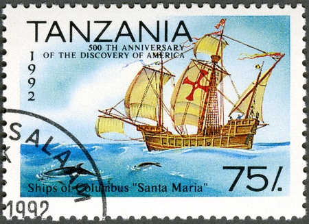 "TANZANIA - CIRCA 1992: A stamp printed in Tanzania devoted to 500th anniversary of the discovery of America, shows Ships of Columbus ""Santa Maria�, circa 1992"