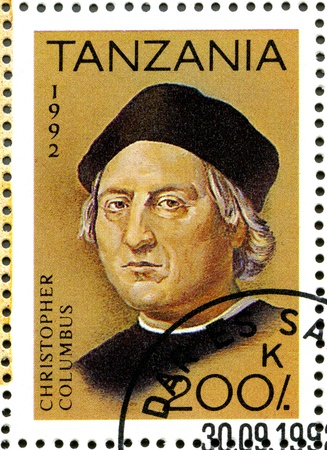 christopher columbus: TANZANIA - CIRCA 1992: A stamp printed in Tanzania devoted to 500th anniversary of the discovery of America, shows Christopher Columbus, circa 1992