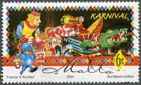 MALTA - CIRCA 2001: A stamp printed by Malta shows Carnival, series, circa 2001 Stock Photo - 12950334