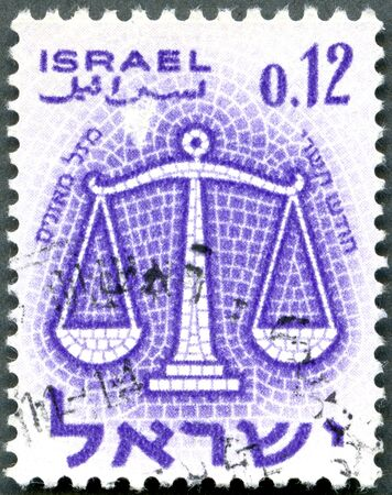 ISRAEL - CIRCA 1961: A stamp printed in Israel shows Sign of Zodiac, Scales, circa 1961 Stock Photo - 12950338